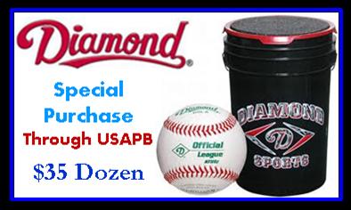 Diamond Baseball - USAPB Special Purchase$35/Dozen - Purchase through Coaches Choice - 714-373-0130